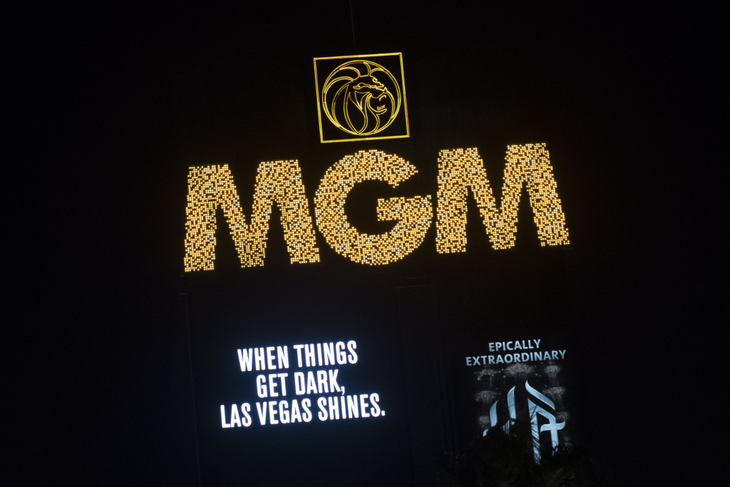 After the marquees on the Las Vegas Strip went dark for 11 minutes, a tribute message for the victims of the Route 91 Harvest country music festival is displayed on the marquee of MGM Grand Hotel & Casino, on October 8, 2017 in Las Vegas, Nevada.