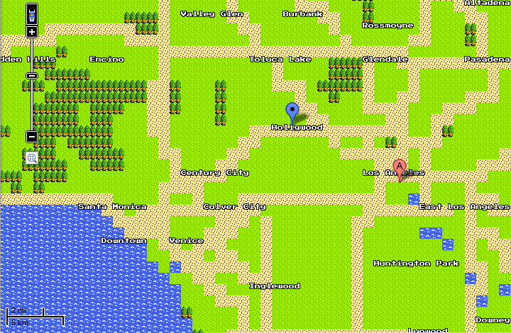 google maps 8-bit quest map