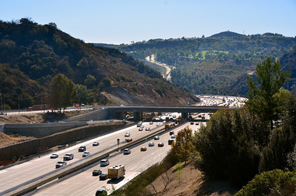 The 405 Freeway from the Mulholland Drive bridge. Recent construction on the freeway has unearthed rock formations that haven't seen the light of day for millions of years.