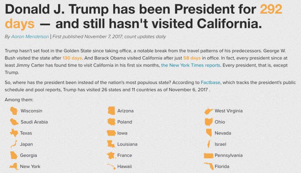 Trump hasn't been to California