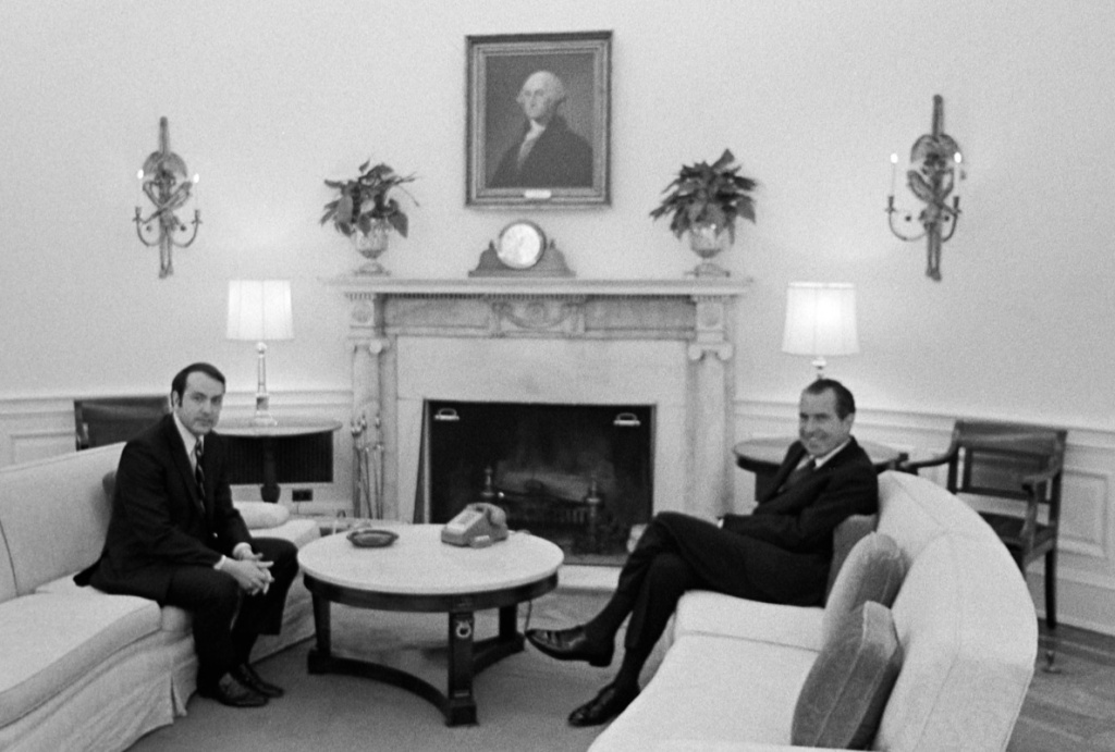 Roger Ailes with then-President Richard Nixon in the Oval Office.