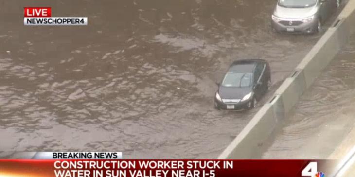 Flooding happening between Sheldon and Lankersheim on NB/SB 5 in N. LA. shut down several lanes of the freeway.