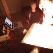A Pyro Board, or 2D Rubens' tube, turns sound waves into flames.
