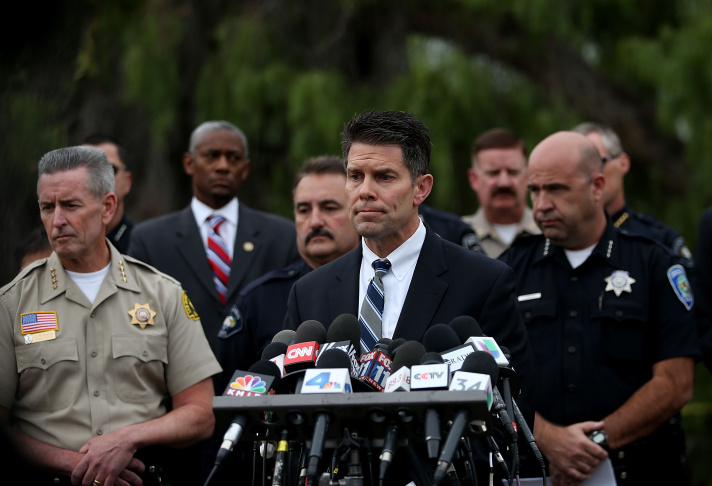 Federal Bureau of Investigation assistant director David Bowdich speaks during a news conference on Dec. 4, 2015 in San Bernardino. The FBI has officially labeled the attack carried out by Syed Farook and his wife Tashfeen Malik as an act of terrorism. The San Bernardino community continues to mourn the attack at the Inland Regional Center in San Bernardino that left at least 14 people dead and another 21 injured.