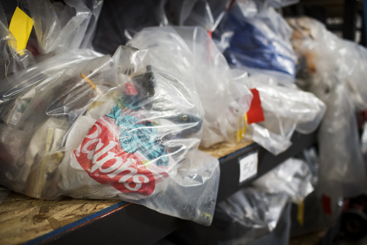 Bags of property collected from homeless encampment clean-ups throughout the city of Los Angeles are stored inside The Bin Los Angeles Personal Property Storage in Skid Row on Friday morning, June 26, 2015.