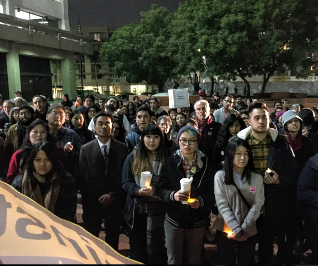 Little Tokyo hosted a vigil and rally in support of Muslim Americans and other immigrants