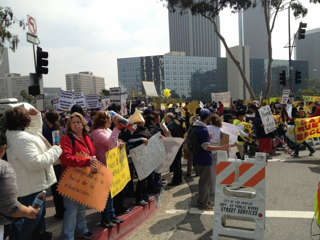Hundreds of protesters gathered outside L.A. Unified headquarters downtown as the board met inside to discuss the district's dire budget picture. (March 2012)