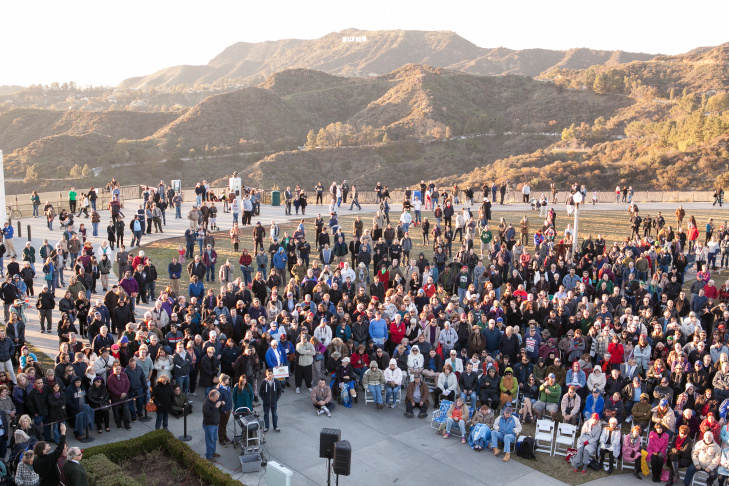 The crowd at Huell Howser's memorial at Griffith Park Observatory, Tuesday, Jan. 15, 2013.
