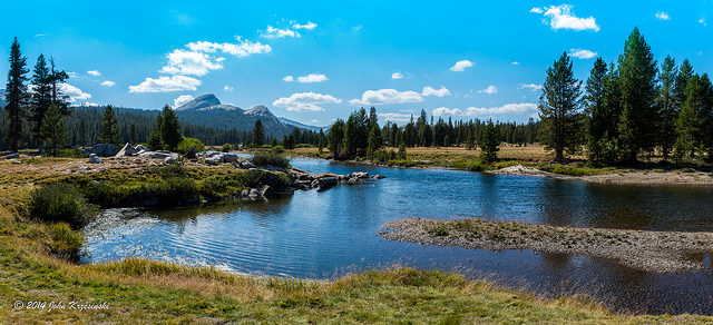 Tuolumne River as it winds its way through Tuolumne Meadows in Yosemite National Park.