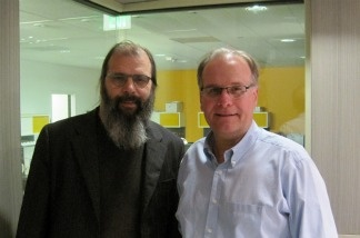 Musician and author Steve Earle with AirTalk host Larry Mantle.