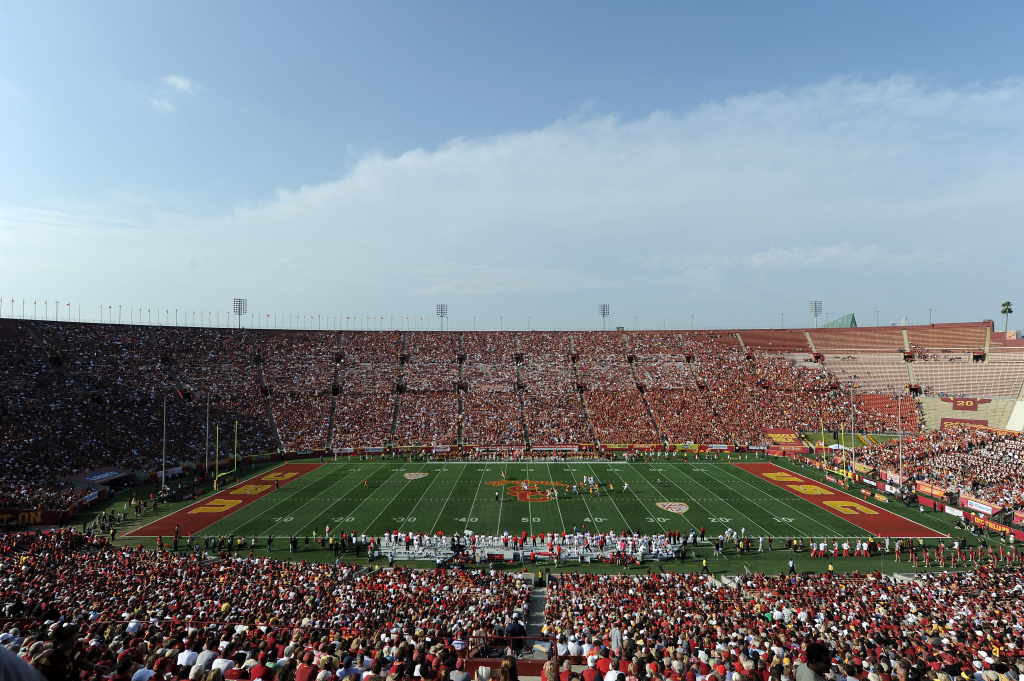 General view of the game between the Utah Utes and the USC Trojans at Los Angeles Memorial Coliseum on September 10, 2011 in Los Angeles, California.