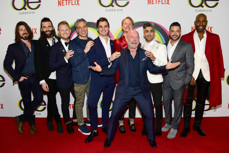 (L-R) Kyan Douglas, Jonathan Van Ness, Bobby Berk, Thom Filicia, Antoni Porowski, Carson Kressley, Tan France, Jai Rodriguez, Karamo Brown, and (front) show creator David Collins attend the premiere of Netflix's
