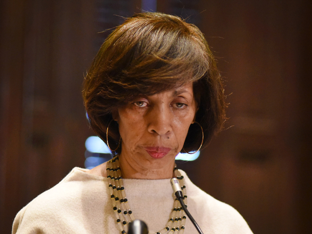 Mayor Catherine Pugh seen here in March offering background on her <em>Healthy Holly</em> book business during a City Hall press conference.