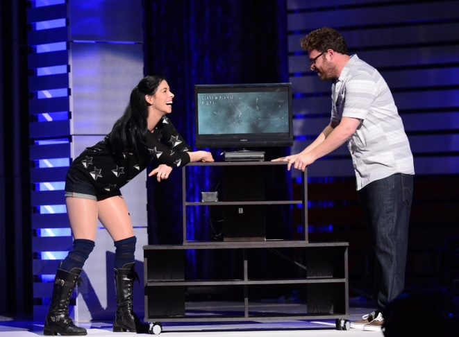 Actors Sarah Silverman and Seth Rogan attends 'The Big Live Comedy Show' presented by YouTube Comedy Week held at Culver Studios on May 19, 2013 in Culver City.