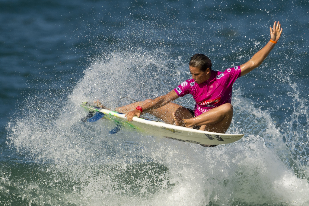US Courtney Conlogue surfs during the first day of the ASP women world tour Billabong Rio Pro 2013 at Barra de Tijuca beach in Rio de Janeiro, Brazil on May 10 , 2013.