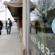 A window sticker on a downtown Indianapolis florist shop this week shows its objection to the Religious Freedom bill passed by the Indiana legislature.