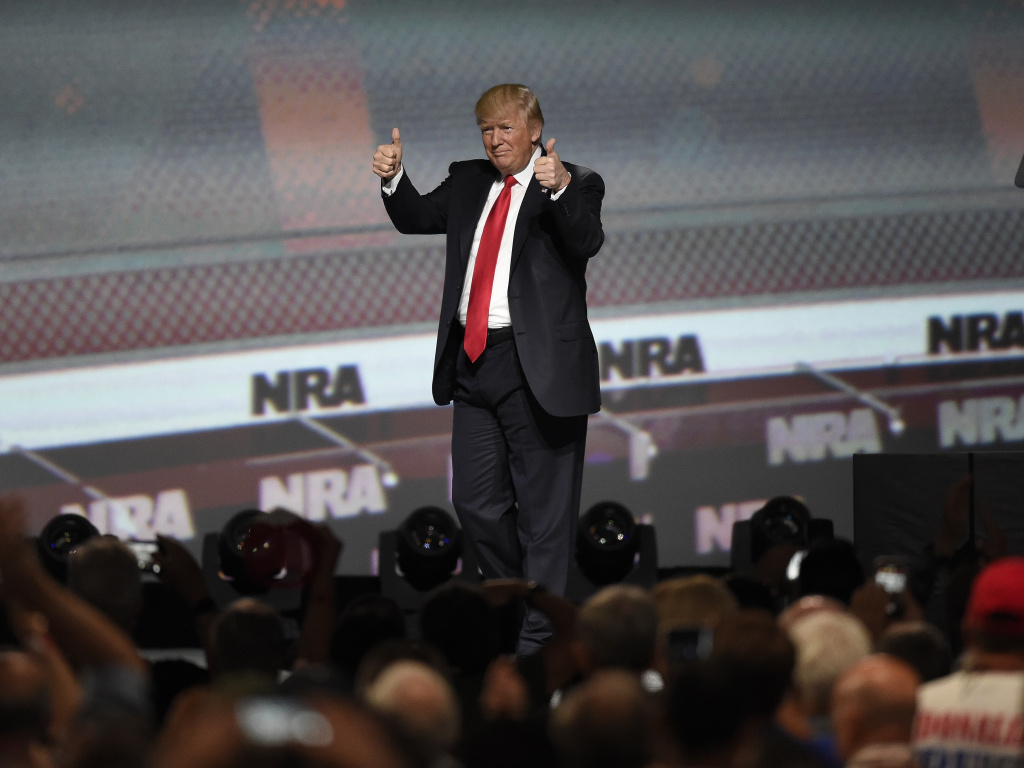 President Trump speaks during the 2017 National Rifle Association convention in Atlanta. He was the first sitting president to do so since Ronald Reagan in 1983.