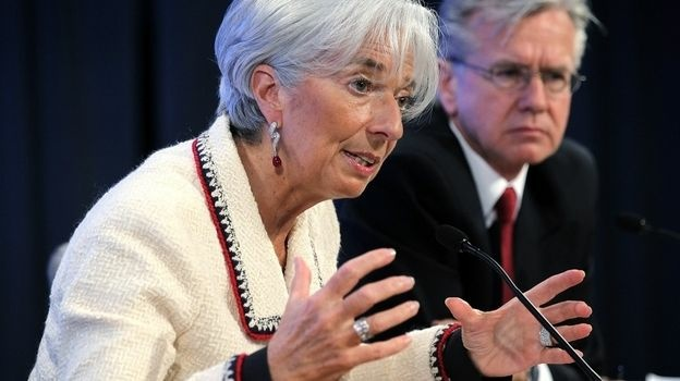International Monetary Fund Managing Director Christine Lagarde made the case for an international crisis fund at a briefing in Washington on Thursday.
