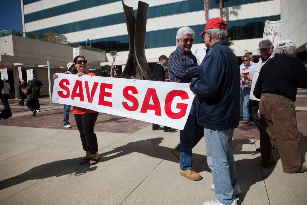 File: Venessa Verdugo and Eddie Kafafian, both actors in SAG, protest the potential merger between SAG and AFTRA.