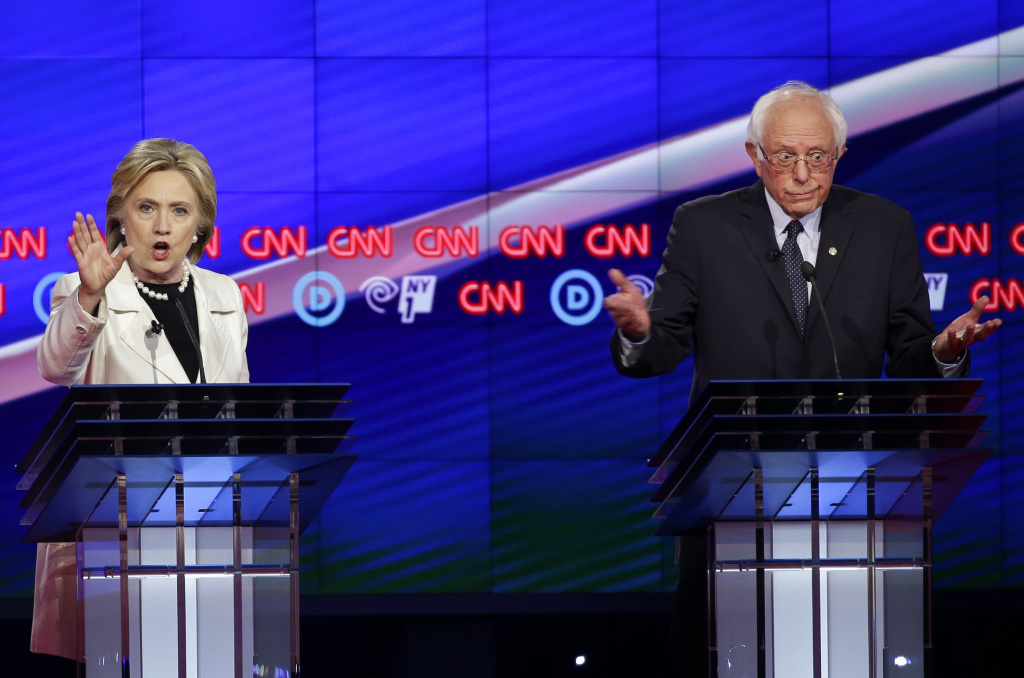 Sen. Bernie Sanders and Hillary Clinton during the CNN Democratic Presidential Primary Debate at the Brooklyn Navy Yard on Thursday.