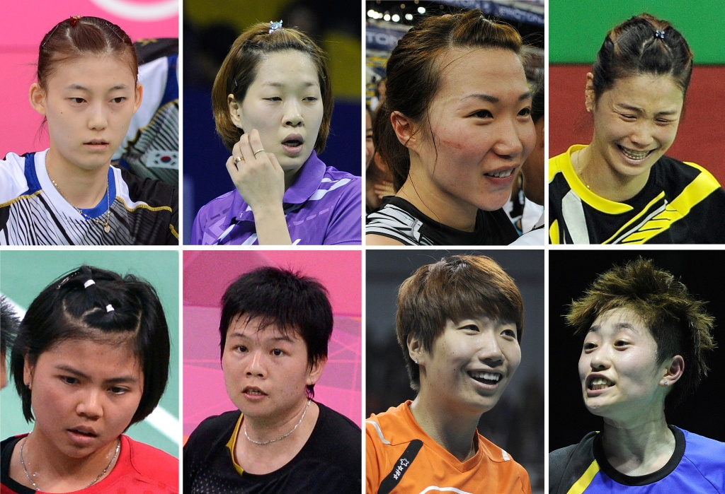 A combination of pictures on August 1, 2012, shows eight badminton players that were disqualified Wednesday in a match-fixing scandal at the Olympic badminton tournament in London. (Top Row L-R) South Korea's Kim Ha Na, Ha Jung-Eun, Kim Min-Jung, Jung Kyung-Eun. (Bottom Row L-R) Indonesia's Greysia Polii, Meiliana Jauhari and China's Wang Xiaoli and Yu Yang.