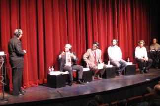 Larry Mantle with panelists David Lehrer, Salam Al-Marayati, Omar Zarka, and Isaac Yerushalmi at South Coast Repertory, May 10, 2010.