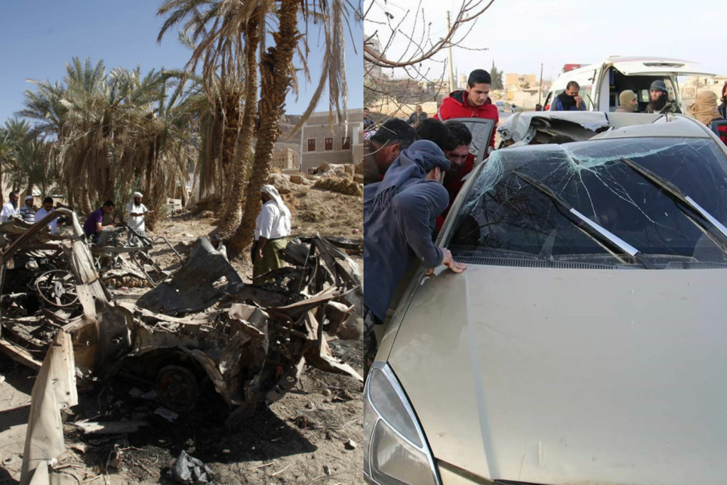 A specially modified Hellfire is intended to limit damage compared to typical missiles. Left, a car destroyed by a U.S. drone airstrike that targeted suspected al Qaeda militants in 2012 in Yemen. Right, a U.S. airstrike using a modified Hellfire killed al Qaeda deputy leader Abu Khayr al-Masri in Syria in 2017. PHOTO: FROM LEFT: KHALED ABDULLAH/REUTERS; NEW JERSEY OFFICE OF HOMELAND SECURITY AND PREPAREDNESS