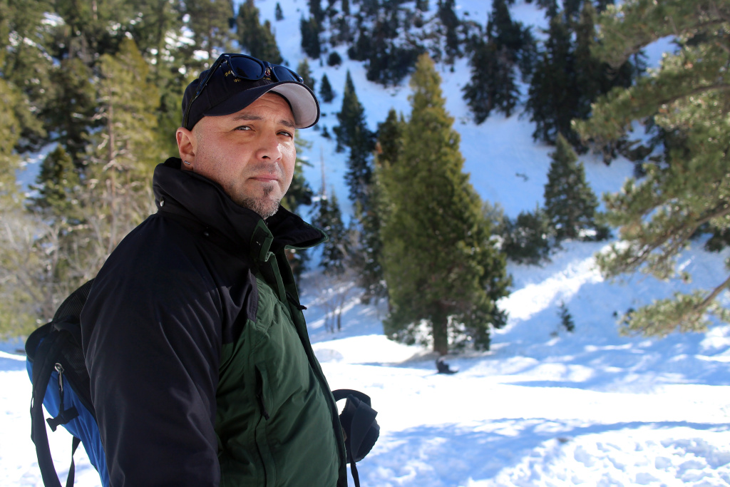 Nathan Judy, fire information officer for the U.S. Forest Service, monitors snow conditions at Manker Flats near Mt. Baldy. Judy was a snow ranger for eight years, and his knowledge is helpful during a winter that could see a lot of snow.