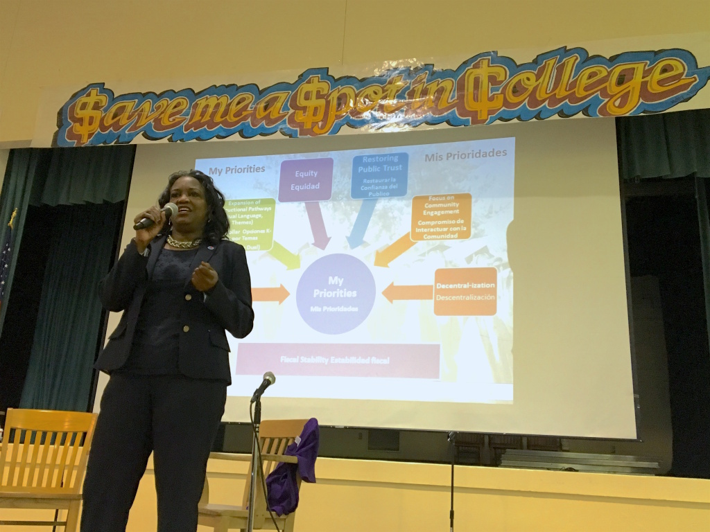 Michelle King, superintendent of the Los Angeles Unified School District, speaks during a town hall meeting at Gage Middle School in Huntington Park on May 11, 2016.