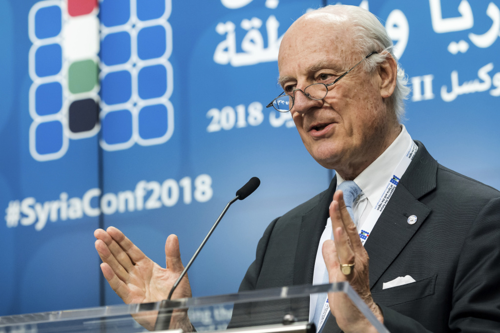 U.N. Special Envoy for Syria Staffan de Mistura, shown here at a conference in April, says he will leave his post the last week of November.