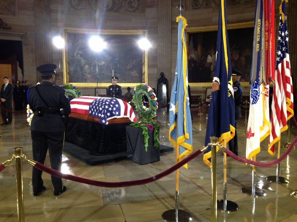 Sen. Daniel Inouye at rest in the Capitol Rotunda.
