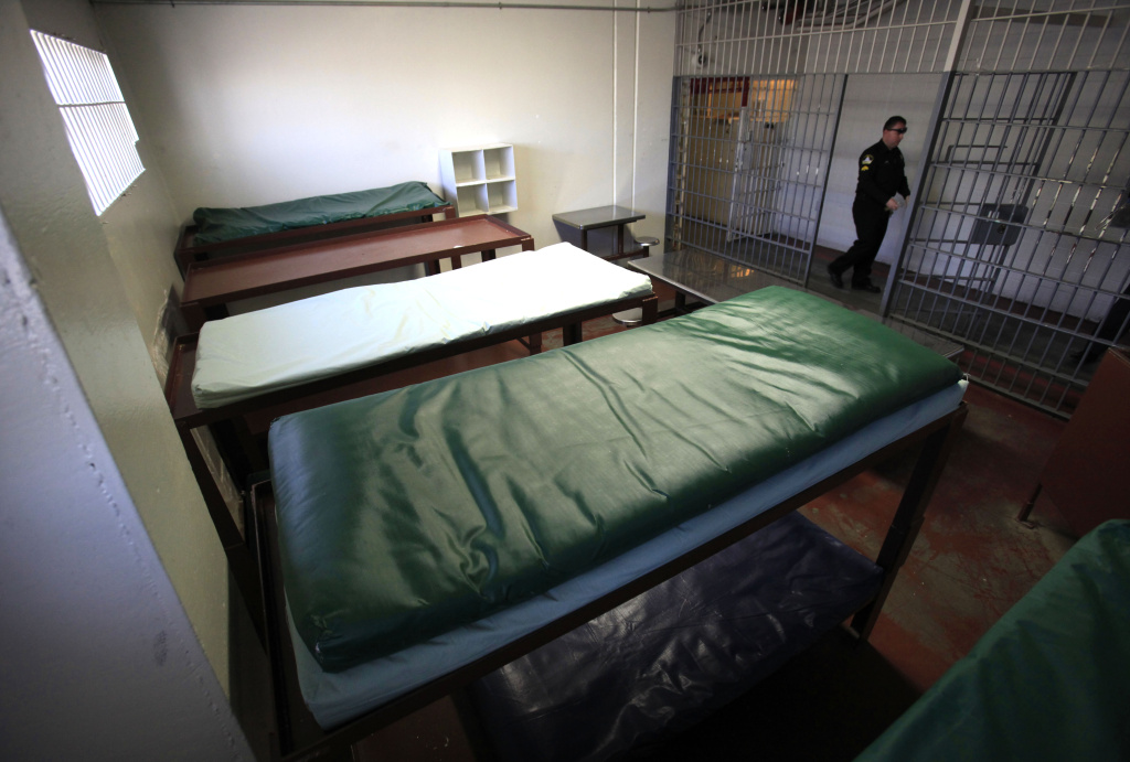 Double-tiered bunks are seen in one of the cells at a formerly closed housing unit  at the Rio Cosumnes Correctional Center, in Elk Grove, Calif. that was scheduled to be reopened to handle the increase of inmates sentenced under the new prison realignment program.