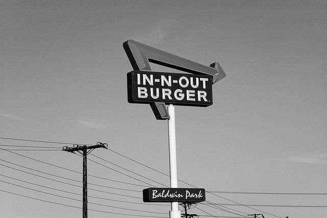 The Baldwin Park In-N-Out sign. The first In-N-Out Burger opened in this San Bernardino location.