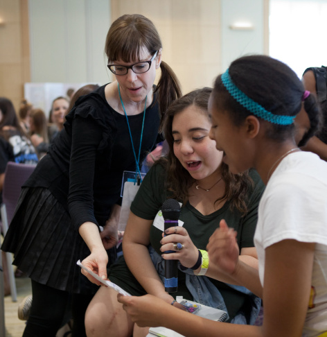 Singer-songwriter Lisa Loeb performs a rap she's written with a group of teens during a workshop on Saturday, Feb. 27, 2016 at the Huntington Library in Pasadena.