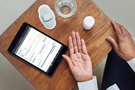 """The FDA has approved the first drug with """"a digital ingestion tracking system."""" Abilify MyCite is an antipsychotic with an ingestible sensor that transmits data to a patch, which then sends the information to a smartphone app."""