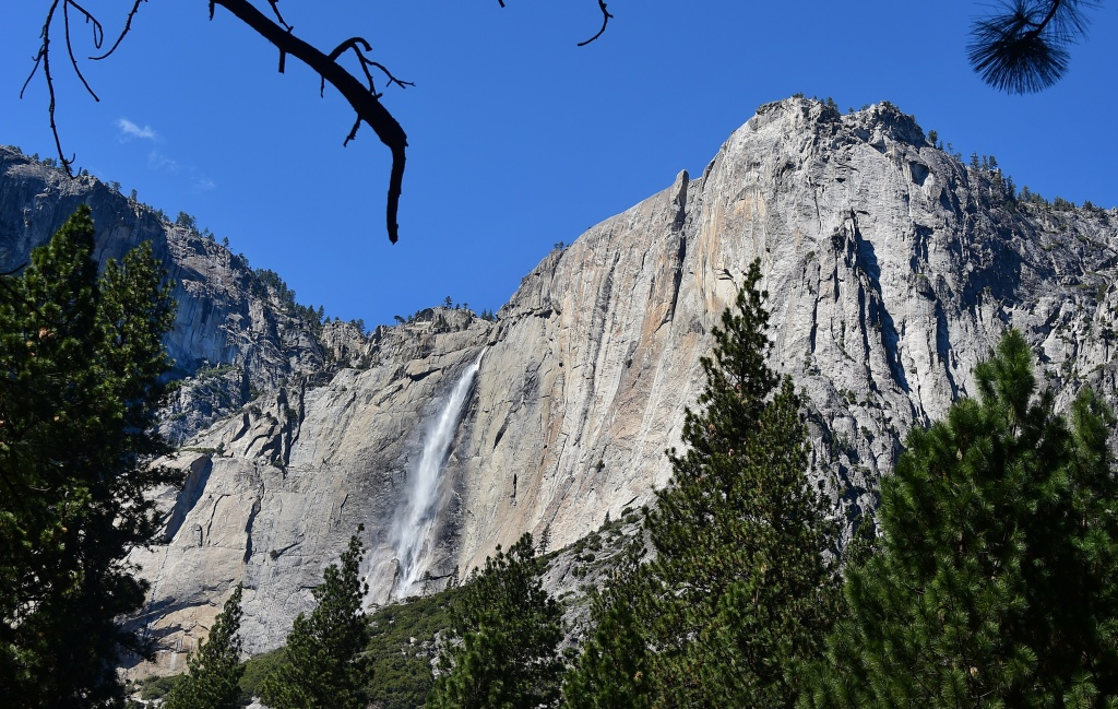 Water flows down Yosemite Falls, the highest waterfall in North America in the Sierra Nevada mountain range at Yosemite National Park on March 25, 2015 in California, where the snowpack in the mountain range hit an unprecedented low this week, falling below historic lows of 2014 and 1977 for the state's driest winter in sixty-five years of record keeping.