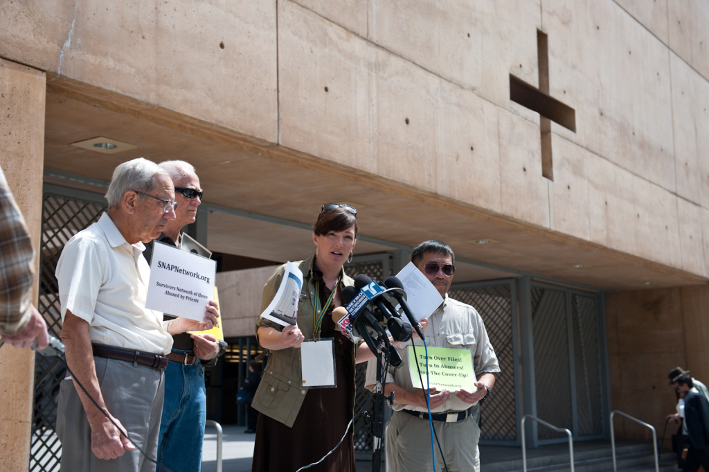 Joelle Casteix is joined by her Survivors Network of those Abused by Priests (SNAP) as victims helping victims not only announcing the lawsuit against the Archdiocese but also reaching out to victims about the healing process.