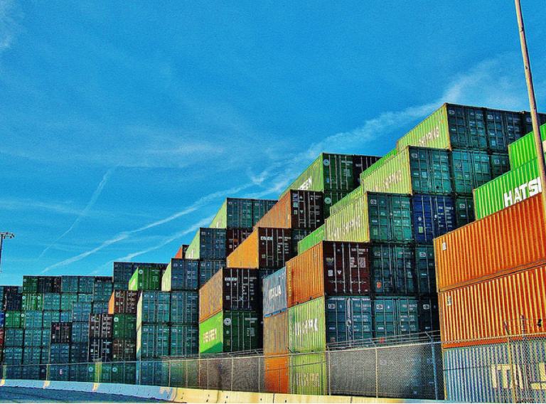 Shipping containers at the Port of Los Angeles.