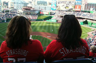 Stephen Strasburg debuted Tuesday night for the Washington Nationals; fans wearing Strasburg shirts were everywhere at the game