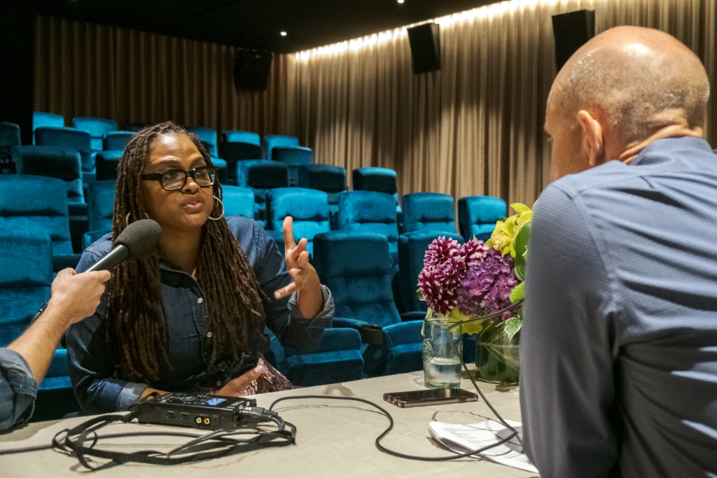 The Frame's John Horn interviews Ava DuVernay inside the 50-seat theater on the campus of Array HQ in Los Angeles.