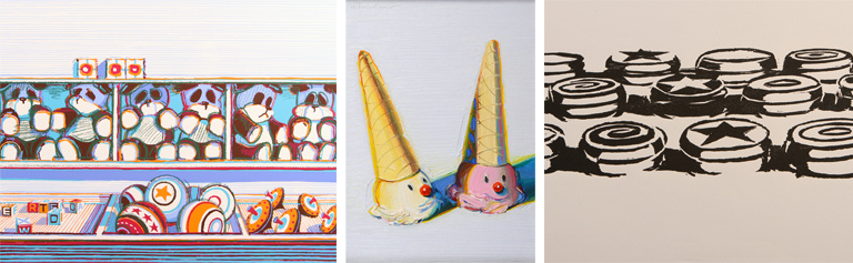 Some of the Wayne Thiebaud works at the Laguna Art Museum's new exhibit,