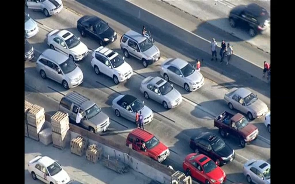 A crash between multiple vehicles, including one big rig, has shut down all lanes but one on the Golden State (5) Freeway at Buena Vista Street in Burbank.