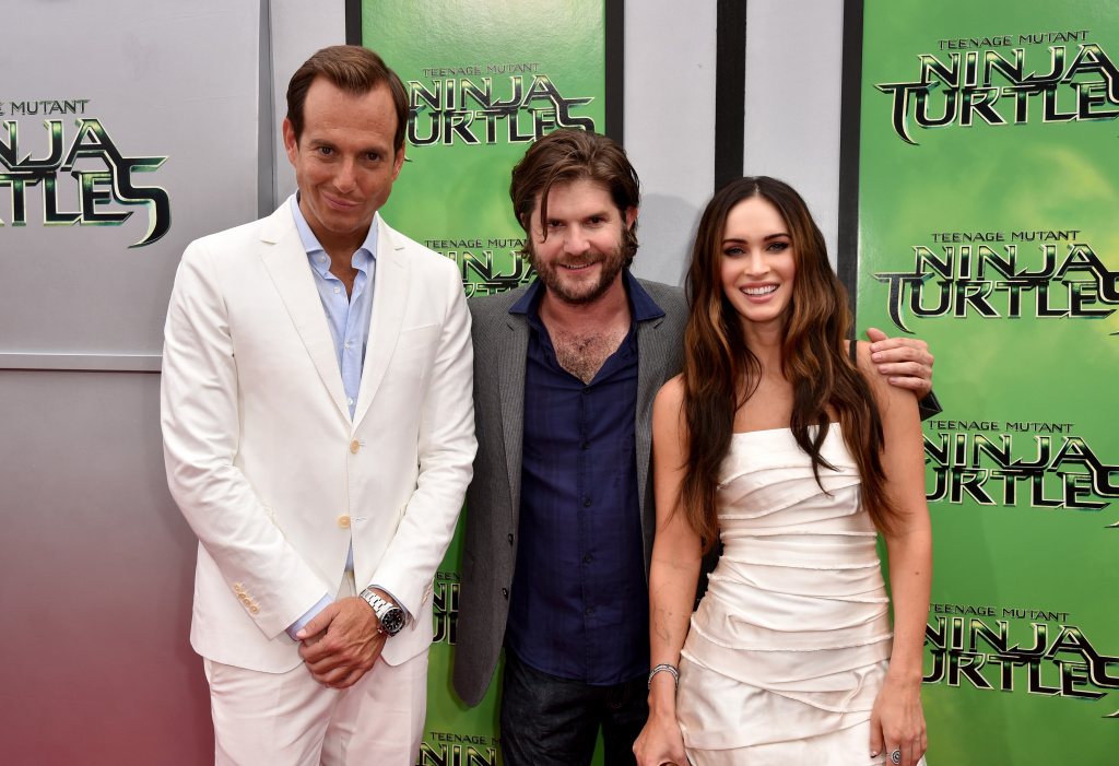 (L-R) Actor Will Arnett, director Jonathan Liebesman and actress Megan Fox attend the premiere of Paramount Pictures'