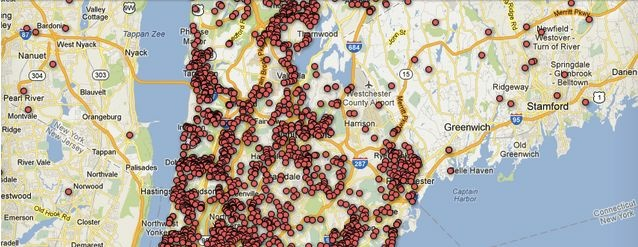 Screenshot of The Journal News's map of gun owners in New York.