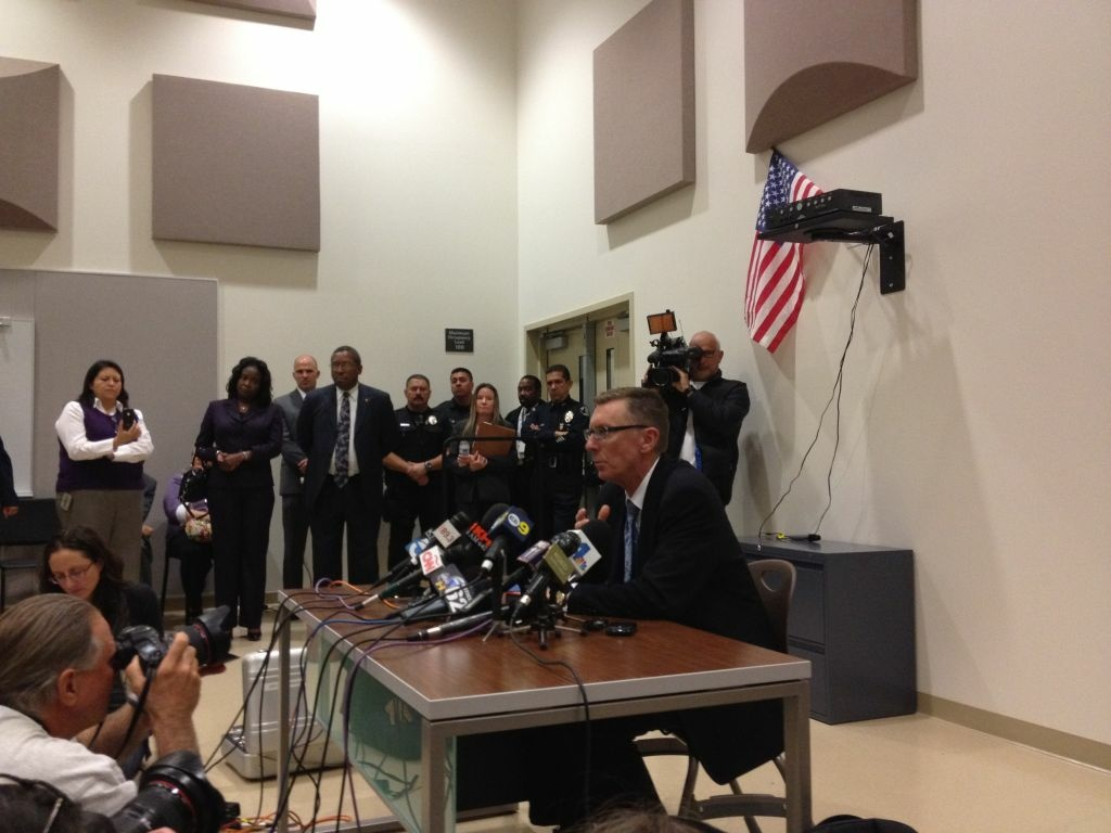 LAUSD Superintendent John Deasy addresses media Monday night at South Region High School 2 after meeting with parents and informing them that all staff from Miramonte Elementary School will be replaced because of lewd conduct charges against two teachers in separate cases.