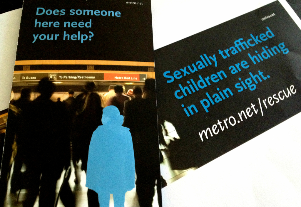 A new anti-child sex trafficking awareness campaign will hit Metro buses, trains, transit stops and billboards.