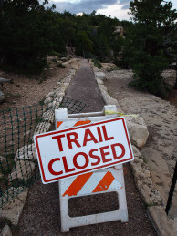 The upper Rim Trail overlooking the Grand Canyon sits closed to the public on June 09, 2009 in the Grand Canyon National Park, Arizona. Many trails in the park are closed due to chronic funding shortage for upkeep. The project is the biggest trail reconstruction project in the Grand Canyon since the 1960s and the first there to use some of the $10.8 million in economic stimulus money granted by Congress for projects in the park. Some 4.5 million people visit the Grand Canyon each year, making it the most visited destination park in the United States.