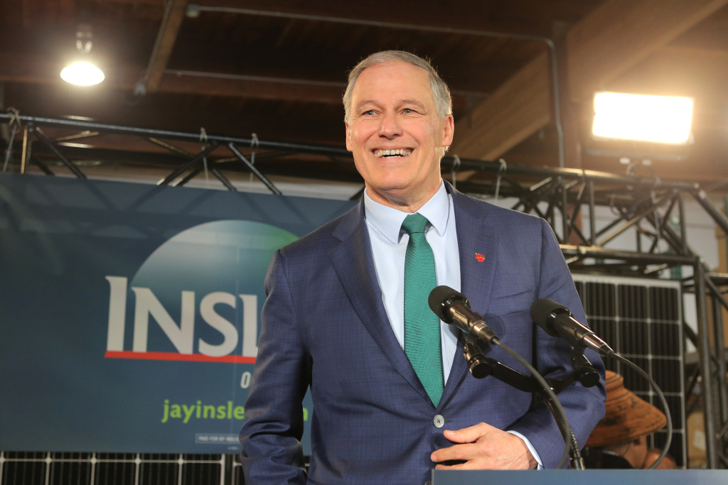 Washington Gov. Jay Inslee announces his run for the 2020 presidency at A&R Solar on March 1 in Seattle. He says tackling climate change should be