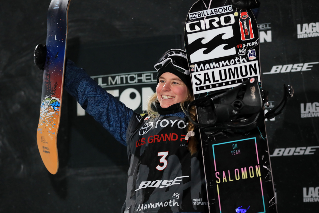 Maddie Mastro reacts on the podium after placing third in the final round of the Ladies' Snowboard Halfpipe during the Toyota U.S. Grand Prix on January 20, 2018 in Mammoth, California.