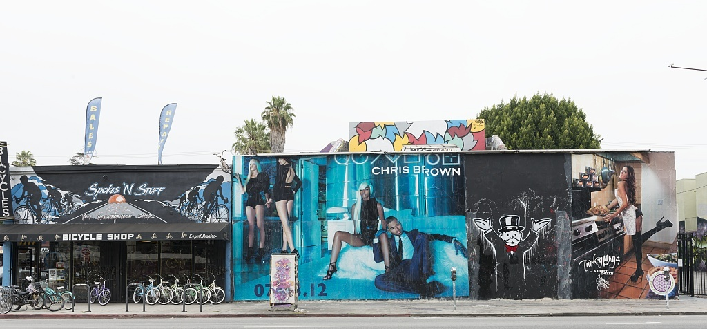 Art and interesting shops along Melrose Avenue in Los Angeles, California.